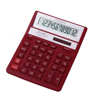 Калькулятор 12 розрядів 203*158*31мм червоний, Citizen