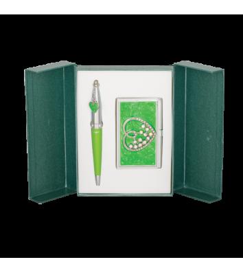 Набір ручка кулькова та візитниця Crystal Heart зелений, Langres