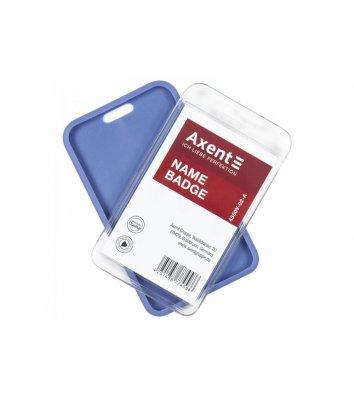 Бейдж-чехол 54*85мм матовый дымчатый синий SoftTouch, Axent