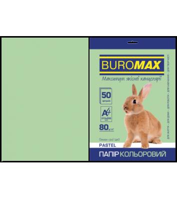 Бумага А4 80г / м2 50л цветная пастельная зеленая, Buromax
