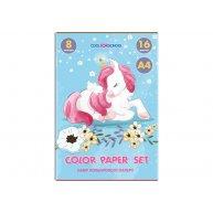 Папір кольоровий односторонній А4 16арк 8 кольорів, Cool for School