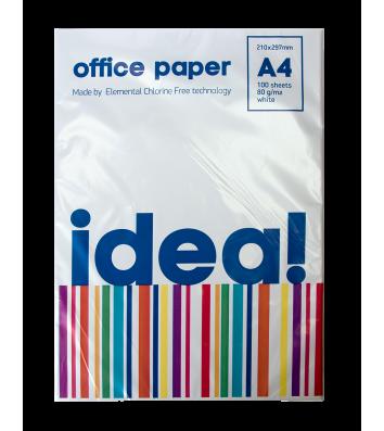 Папір офісний A4 80г/м2 100арк клас С Idea, білий