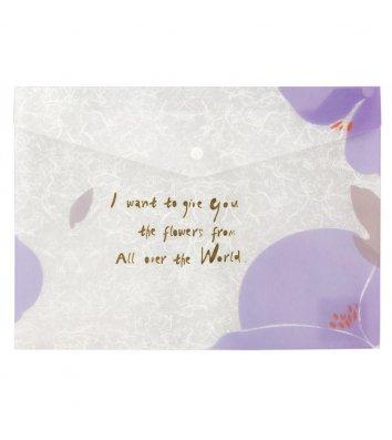 Папка-конверт А4 на кнопке пластиковая светло-сиреневая Fleur, Axent