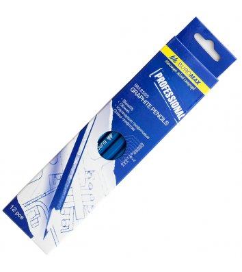 """Набір чорнографітних олівців 4H-6B 12шт """"Professional"""", Buromax"""