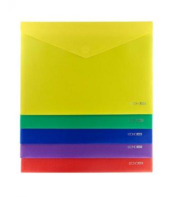 Папка-конверт А4 на липучке пластиковая непрозрачная ассорти, Economix