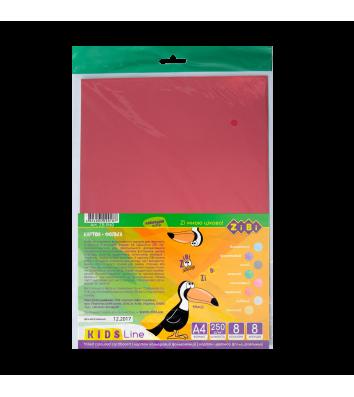 Картон цветной А4 8л фольгированный, Zibi