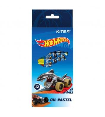 """Пастель масляная цветная 12шт """"Hot Wheels"""", Kite"""