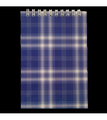 Блокнот А6 48арк клітинка Шотландка, верхня спіраль синій, Buromax