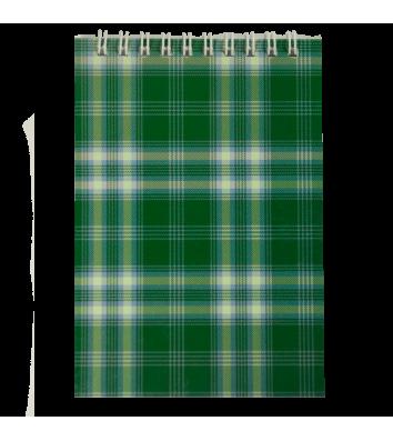 Блокнот А6 48л клетка Шотландка, верхняя спираль зеленый, Buromax