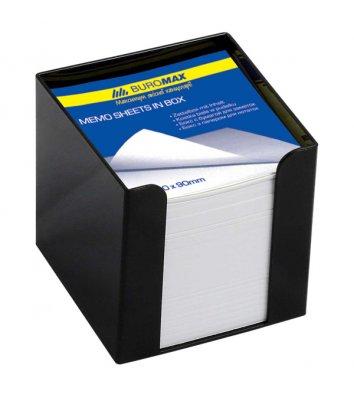Бумага для заметок 90*90мм 1000л в пластиковом черном боксе, Buromax