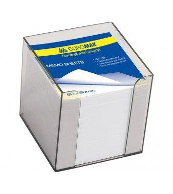 Папір для нотаток 90*90мм 1000арк в пластиковому димчастому боксі, Buromax
