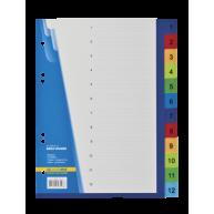 Разделители листов А5 12 разделов пластиковые нумерованные цветные, Buromax