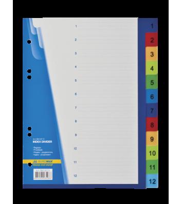Розділювачі аркушів А5 12  розділів пластикові нумеровані кольорові, Buromax