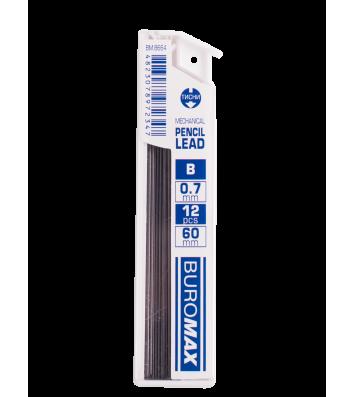 Стрижні до механічного олівця B 0,7мм 12шт, Buromax
