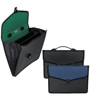 Портфель А4 пластиковый 3 отделения черный, Buromax