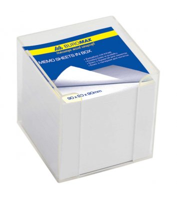 Папір для нотаток 90*90мм 1000арк в пластиковому прозорому  боксі, Buromax