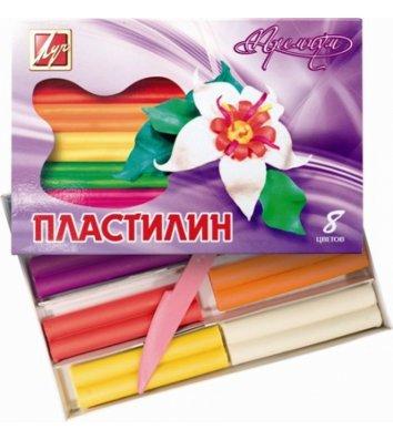 Пластилин восковой 8 цветов 140г, Луч