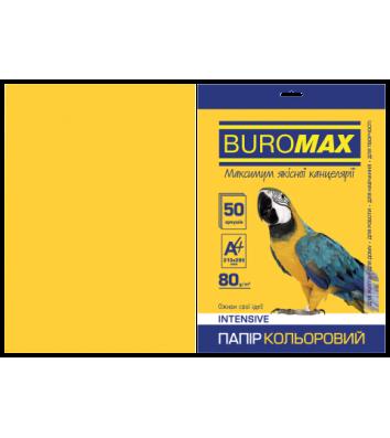 Папір А4  80г/м2  50арк кольоровий інтенсивний жовтий, Buromax