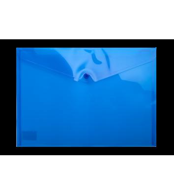 Папка-конверт А4 на кнопці пластикова прозора синя, Buromax