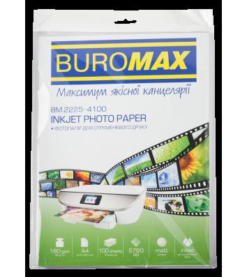 Фотопапір матовий A4 180г/м2  100арк, Buromax