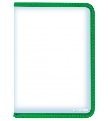 Папка А4 пластикова на блискавці зелена, Economix