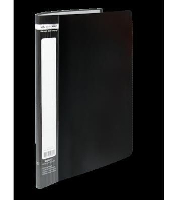 Папка А4 пластикова з 10 файлами чорна Jobmax, Buromax