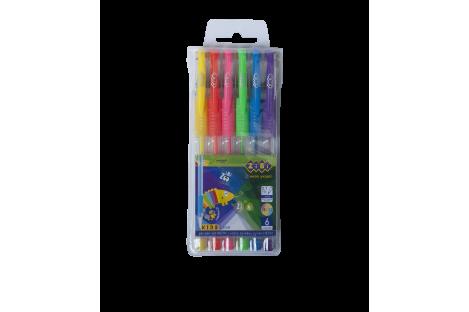 Набор гелевых ручек 6 цветов Neon 0,7мм, Zibi