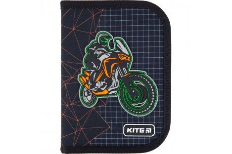 Пенал твердый с наполнением 1 отделение 2 отворота на монии Education Motocross , Kite