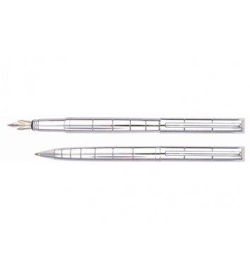 Набір ручка кулькова та перова Glossy Cople, колір корпусу сріблястий, Cabinet