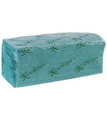 Полотенца бумажные однослойные 170шт Z-сложения зеленые, Кохавинка