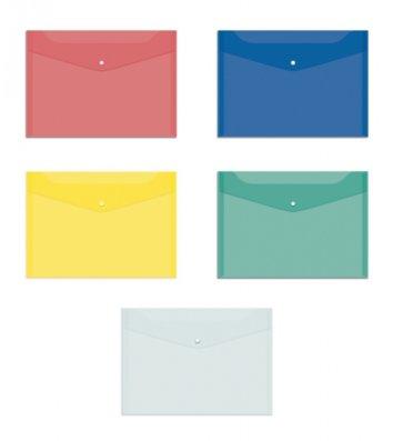 Папка-конверт А5 на кнопке пластиковая прозрачная ассорти, Economix