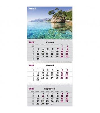"""Календар настінний квартальний на 2022р (3 пружини) """"Морський пейзаж"""", Axent"""