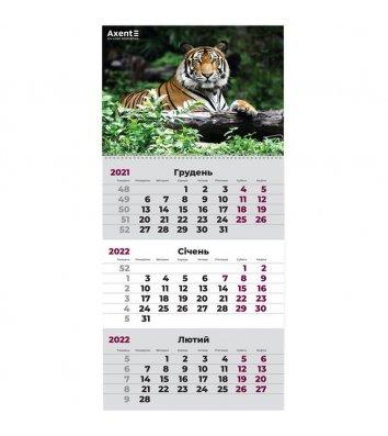 """Календар настінний квартальний на 2022р (1 пружина) """"Тигр"""", Axent"""