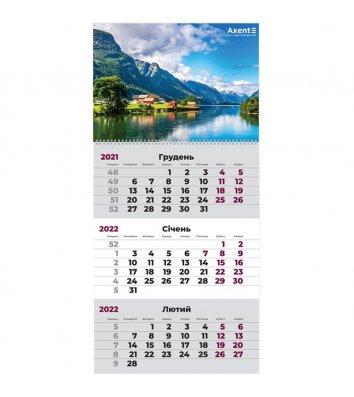 """Календар настінний квартальний на 2022р (1 пружина) """"Норвегія"""", Axent"""