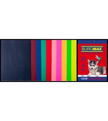 Набір паперу А4 80г/м2 20арк кольоровий 10 кольорів темний/неоновий, Buromax