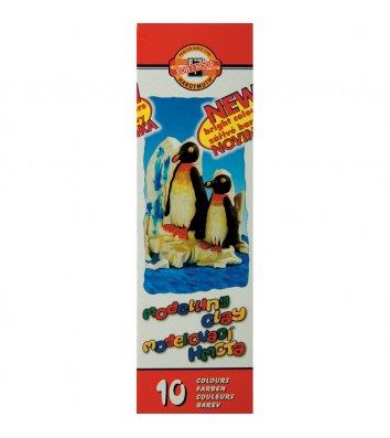 """Пластилин 10 цветов 200г """"Пингвины"""", KOH-I-NOOR"""