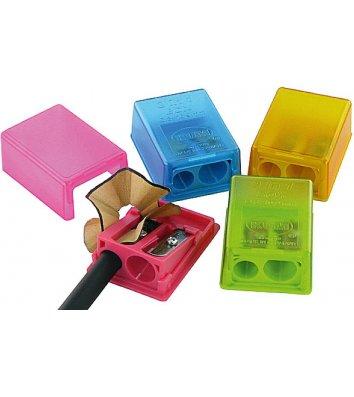 """Чинка пластикова 2 леза з контейнером """"Box"""" асорті, Kum"""