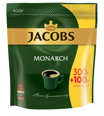 Кофе растворимый Jacobs Monarch 400г, эконом пакет
