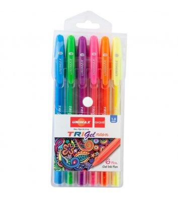 Набор гелевых ручек 6 цветов Trigel Neon 1мм, Unimax
