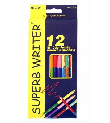 Олівці кольорові 12шт 24 кольори двосторонні шестигранні, Marco