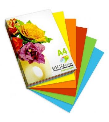 Набор бумаги А4 80г/м2 100л цветной Spectra Color, 5 интенсивных цветов