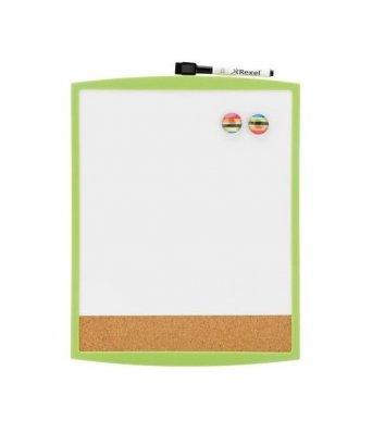 Дошка магнітно-маркерна  28*36см, біла з зеленою рамкою, Rexel