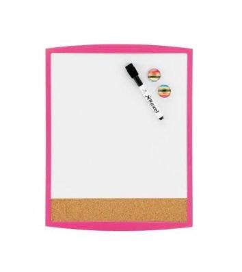 Дошка магнітно-маркерна  28*36см, біла з рожевою рамкою, Rexel