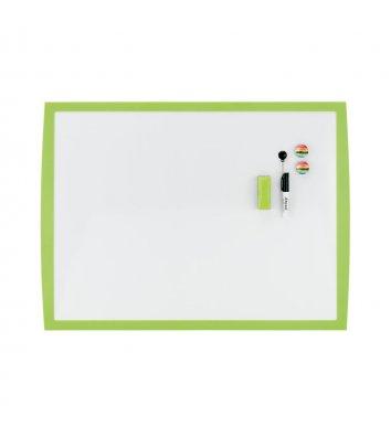 Дошка магнітно-маркерна  43*58,5мм, біла з зеленою рамкою, Rexel