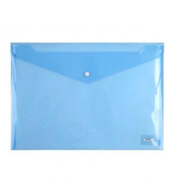 Папка-конверт А4 на кнопці пластикова прозора синя, Axent
