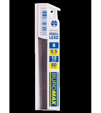 Стрижні до механічного олівця B 0,5мм 12шт, Buromax