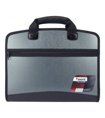 Портфель А4 пластиковый на молнии 4 отделения серый металлик, Axent