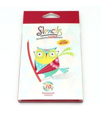 Олівці кольорові 10шт тригранні гнучкі Сова, Flexcils