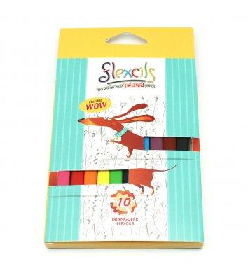 Олівці кольорові 10шт тригранні гнучкі Собака, Flexcils