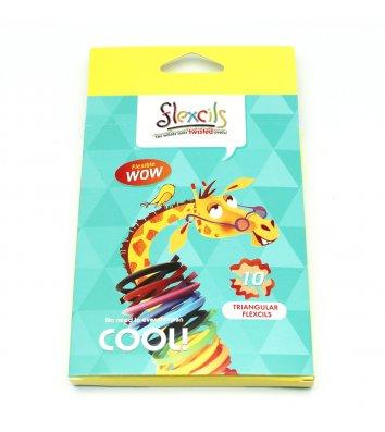 Олівці кольорові 10шт тригранні гнучкі Жираф, Flexcils